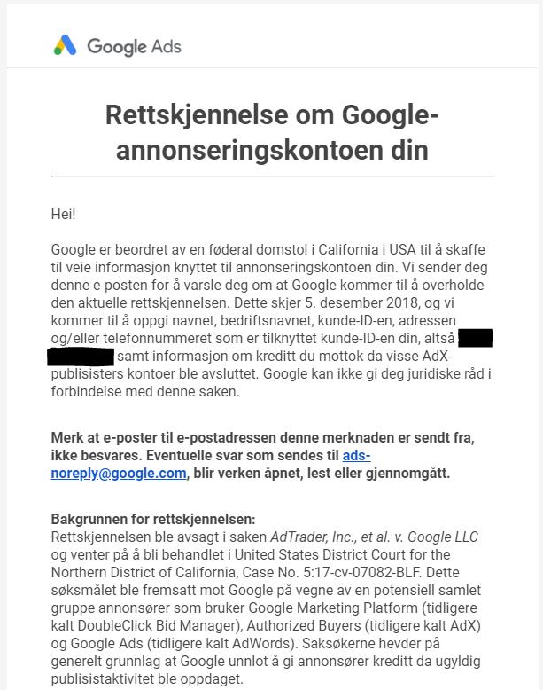 skjermbilde av e-post